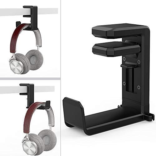 MiiKARE Support Casque avec Bras Pivotant à 360 Degrés, Porte Casque Support Écouteur Crochet Audio Gamer avec Deux Clip de Câble, Universel pour Casque de Jeu et Affichage Casque, Noir