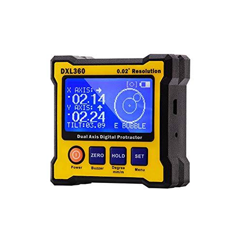 MLYWD helling meter, niveau-indicator met digitaal display, 2-assige liniaal, hellingsmeter, hoekmeter, mini-stappenteller, magnetisch, 4 pagina's