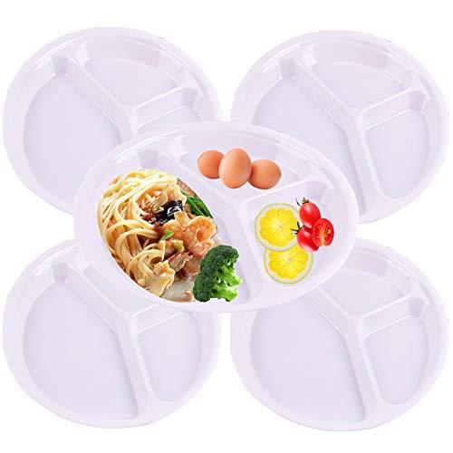 TEERFU Platos divididos de melamina de 26 cm, tres platos redondos divididos, platos platos de cena para niños y mayores, color blanco