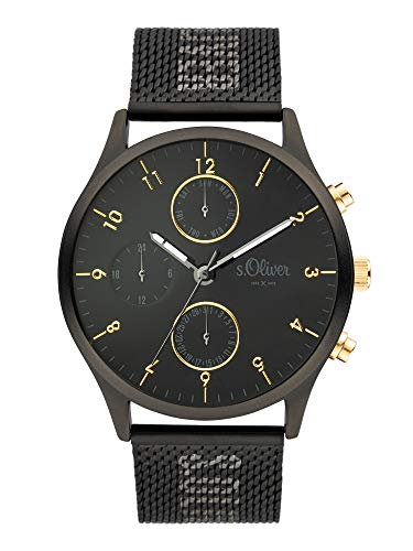s.Oliver Herren Analog Quarz Uhr mit Edelstahl Armband SO-3964-MM