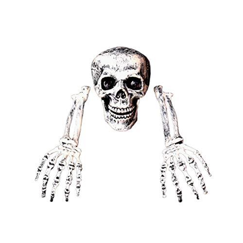 Kelisidunaec Halloween Deko Skelett Schädel Totenkopf, 3 STK Garten Realistisch Grausigkeit Friedhof Begraben Lebend Requisiten Skeleton, Plastik Skelett Hände Totenschädel Garten Hof Rasen Deko