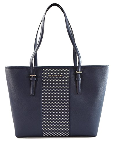 "Saffiano leather with silver tone micro studs accent. Classic and stylish, light weight and spacious Interior: 1 zippered pocket and 4 slip pockets. Approximate measurement: 12"" Bottom15"" Top (W) x 10"" (H) x 4.5"" (D). 10"" adjustable Double shoulder s..."