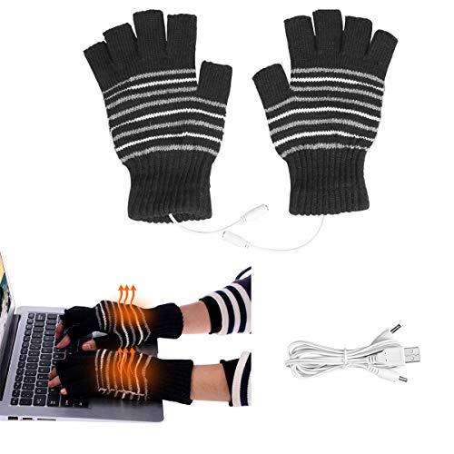 Yunhany Direct Guanti accoglienti riscaldati da USB 1pair 5v Guanti Invernali antigelo Caldi con Mezze Dita Invernali riscaldanti - Viola