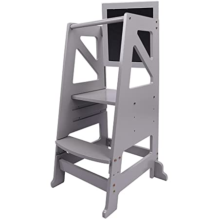 Dripex Kids Kitchen Step Stool, Adjustable Height Wooden Standing Tower with Safety Rail, Mothers' Helper, Grey