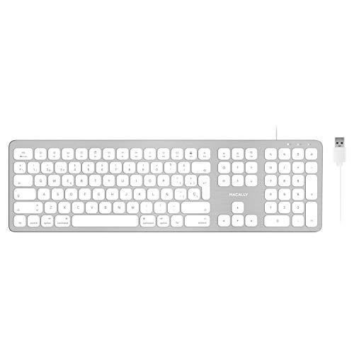 Macally WKEYHUBMB-ES, teclado extendido para Mac con teclado numérico, 2 puertos USB y layout español, USB-A, diseño de aluminio
