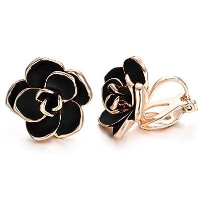 Yoursfs clip earrings for women black rose flower gold plated earring enamel…