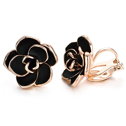 Yoursfs Black Clip On Earrings for Women 18K Gold Plated Rose Flower Earring Enamel Hypoallergenic Non Pierced