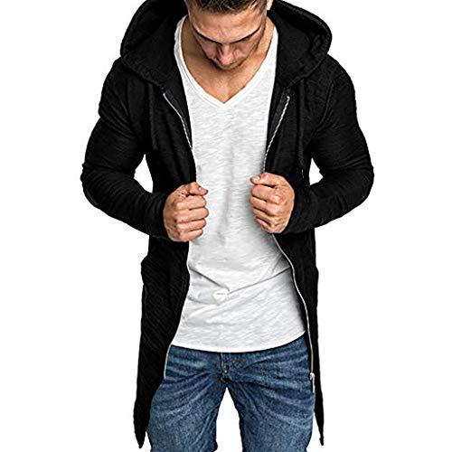 Crazboy Herren Spleißen Reißverschluss Mit Kapuze Jacke Solide Graben Mantel Strickjacke Lange Ärmel Outwear Mantel(X-Large,Schwarz-A)