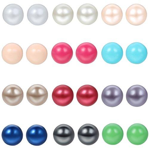 24 orecchini a perno in acciaio inox con perle finte colorate, ipoallergenici.