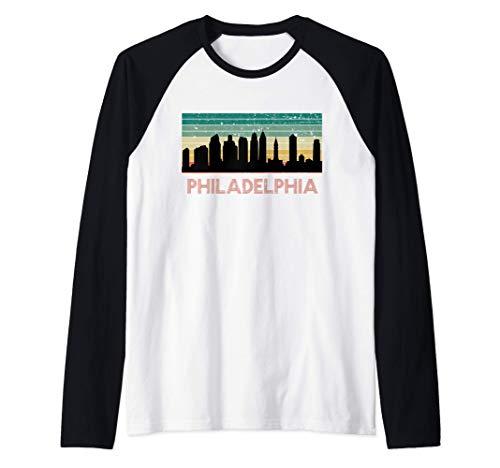 Philadelphia City Skyline Retro Vintage Trip Souvenir Gift Raglan...