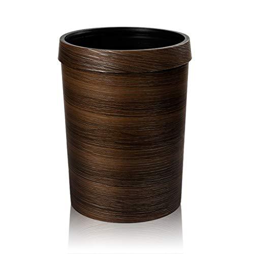 ZfgG Grano de Madera de imitación de Estilo Europeo con Papelera de Basura de círculo de presión, Sala de Estar casera Baño de Cocina sin Tapa Bote de Basura Retro, 10 L