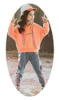 ガールズロングTシャツフード付きトップ+ジーンズツーピースセット、春と秋の服ツーピースキッズカジュアルウェアセット、ピンク、オレンジ、グリーン110cm-160cm orange-M