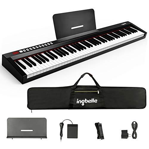 Ingbelle 電子ピアノ 88鍵 練習用多機能 MIDIキーボード バッテリー内蔵 サステインペダル付き 収納バック付き