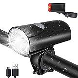 Opard Fahrradlicht Set, Fahrradlicht Frontlicht Vorne, Fahrradbeleuchtung LED, Fahrradlampe, USB aufladbar/StVZO Zugelassen mit Li-ion Akku/Wasserdicht/ 2 Licht-Modi Frontlicht und Rücklicht Set