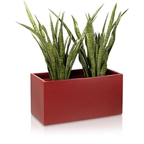 Pflanzkübel Blumentrog VISIO 40 Fiberglas 80x30x40 cm - Farbe: rot matt - großer wetter- und winterfester Pflanztopf für Innen & Außen, robuster & UV-beständiger Pflanztrog