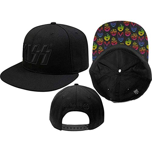KISS Neon Faces Official Mens Black Baseball Cap One Size Snap Back