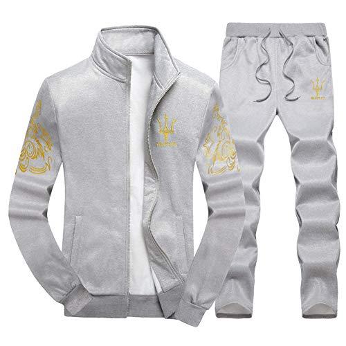 LIXIAOLAN Mens Anzug Set Contrast Cord Pants Zip-Hose Gym Sportanzug Sets Jogger Hosen Reißverschlusstaschen,D,XXXXL