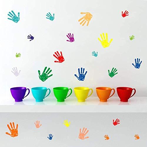 Kreativ Bunte Handabdruck Wandtattoo | Wandaufkleber für Kinderzimmer | DIY Abnehmbare Handabdruck Wandsticker Wandtattoos für Kinder Jungen Mädchen Schlafzimmer Babyzimmer Klassenzimmer Wanddeko