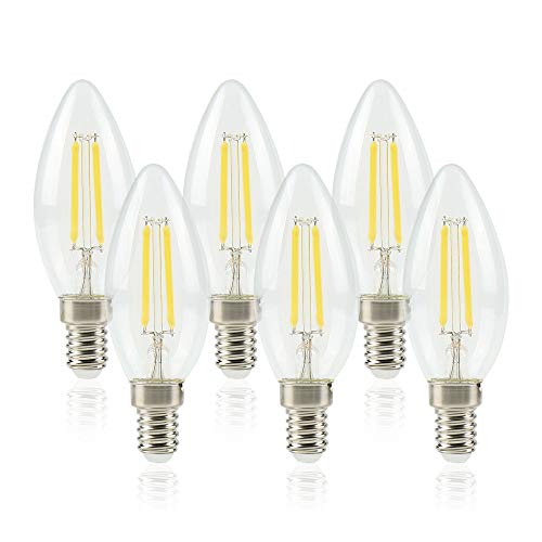 Lampadine LED 6W Candela E14 Luce fredda 4 Filamento, Pari a Lampadine Incandescenza da 60W, Lampadine a LED 6 Unità