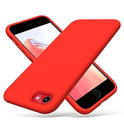 ULAK Cover Compatibile con in Silicone per iPhone SE 2020,Custodia iPhone 8 Antiurto Protettiva in Gomma 3 Strati Compatibile con iPhone 7 / iPhone 8 / iPhone SE 2020 da 4.7 Pollici,Rosso