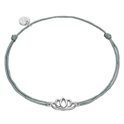 Glanzstücke München Damen-Silberarmband Lotusblume Sterling Silber 15,0-22,0 cm, flexibel einstellbar - Textil-Armband Lotus-Symbol Freunschaftsarmband mit Anhänger Lotusblüte