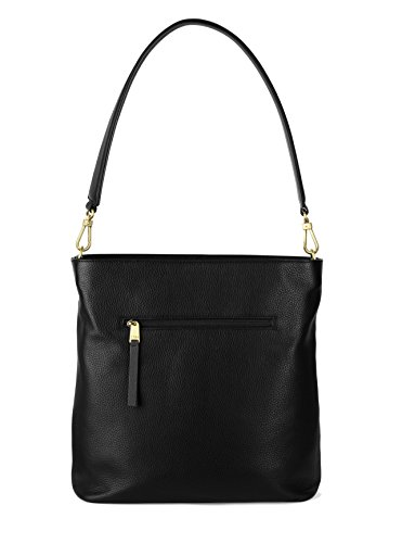 BREE Brigitte 27 | Hobo Bag aus genarbtem Rindleder | Abnehmbarer 3/4 Riemen | Reißverschlussfach vorne | Perfekter Begleiter für die angesagten Looks | Black