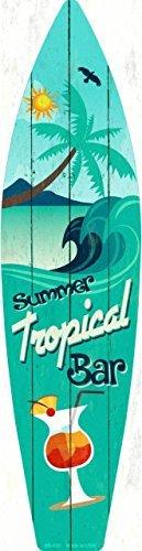 Tropical Bar Metal Novelty Surf Board Sign SB-020