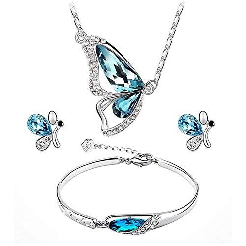 YUECI Brechen Kokon Schmetterling Anhänger Halskette Armband Ohrring Set Schlüsselbein Aquamarinblau Kette Kreatives Zinklegierungen Strass Verziert Schmuck Zubehör Geschenk