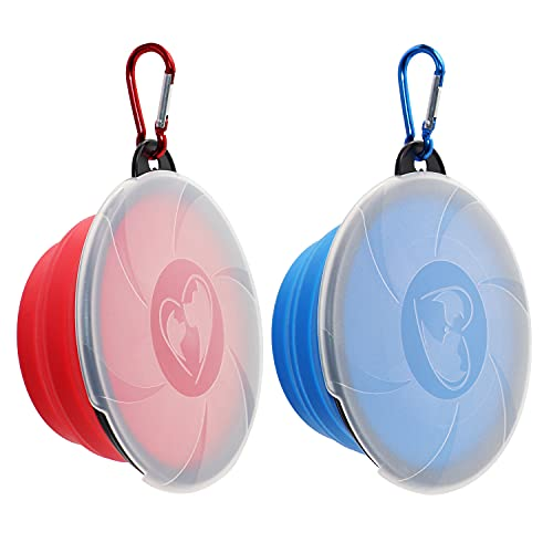 Collapsible Dog Bowl,2 Pack Portable and Foldable Pet Travel Bowls Collapsable Dog Water Feeding...