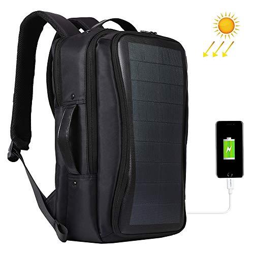 ZLZL Rucksack - Solar Power Rucksack - Wasserdicht, Diebstahlsicher Laptop-Tasche Outdoor-Notfall-Solarrucksack Outdoor-Rucksack SchildkröTenpanzer-Tasche Handy-Lade Reise,Black