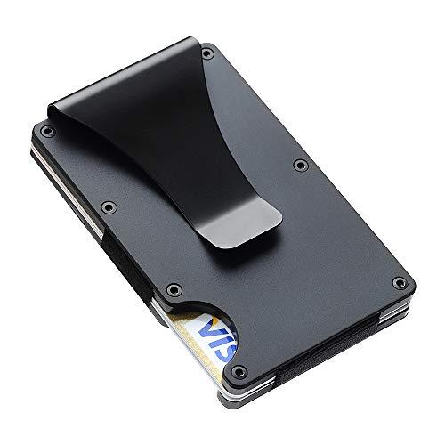 SEMLIMIT Premium Kartenetui Schwarz - Geldklammer NFC & RFID Schutz - Geldbörse Herren für 1 bis 15 Kreditkarten | Gratis E-Book (schwarz)
