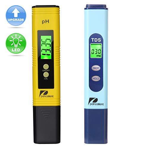 Pancellent Testeur de qualité de l'eau TDS PH 2 en 1 Set 0-9990 PPM Plage de Mesure 1 PPM Résolution 2% Précision de Lecture (Jaune)