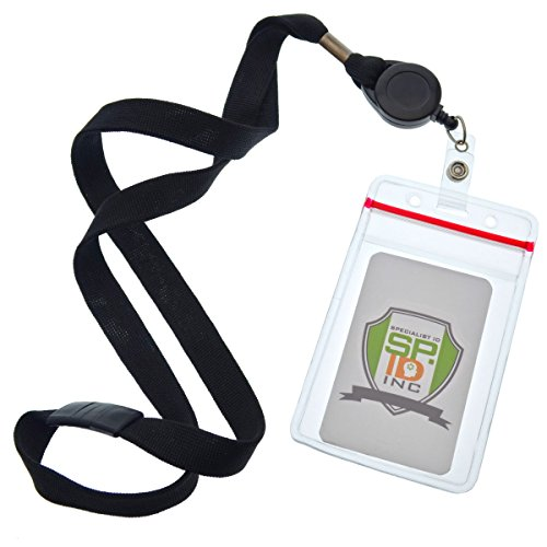5 Pack Cruise Ship Lanyards (Family Pack) with Key Card Holders - Premium Breakaway Lanyards with Retractable Badge Reel & Vertical Heavy Duty Waterproof Card Holder by Specialist ID (Black)