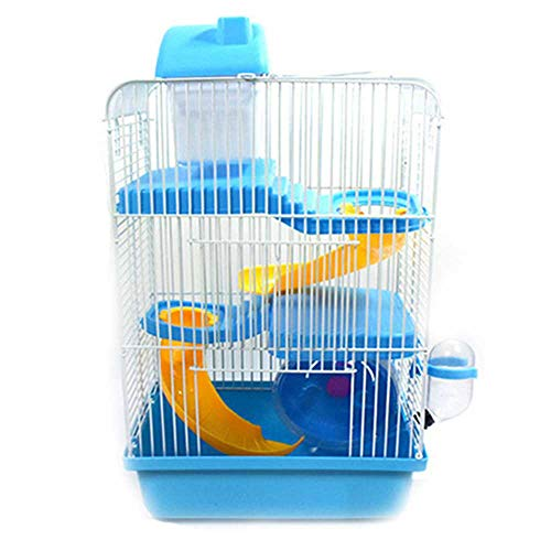 Hamsterkooi Habitat, Critter, Gerbil, Small Animal Starter Kit Met Bijlagen, Accessoires- Water Bottle, Tunnel Ladders, Wheel,Blue