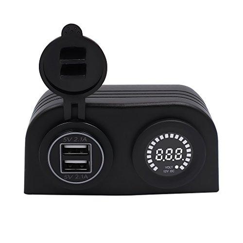 MagiDeal Chargeur Universel Double USB Ports avec Couvercle Imperméable Anti-poussière + Voltmètre coloré 12V Etanche (IP65) - Bleu