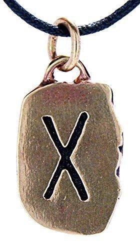 Kiss of Leather Runen Anhänger Gebo aus Bronze mit Baumwollband