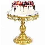 LONGBLE Soporte para tartas con pie, estilo vintage, base redonda sobre la base, para cupcakes, tartas, Miffins, frutas, plato para servir para bodas, fiestas, diámetro de 25 cm, metal (dorado)