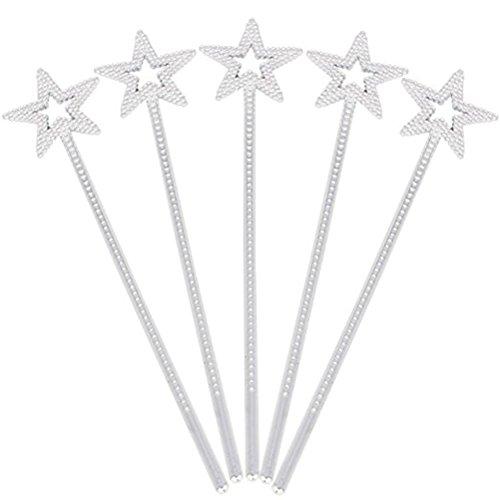 TOYMYTOY Fee Prinzessin Sterne Zauberstäbe Sternförmige Stäbe mit Perlen für Kinder Geburtstag Halloween Cosplay Party Dekoration Lieferungen-5 stücke(Silber)