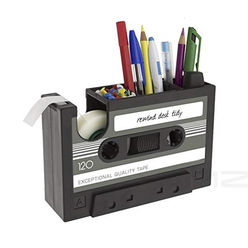 Creative Adhesive Tape Pen Holder Case, Retro Cassette Tape Dispenser Vase Brush Pot, Popular Pencil Desk Collection Tidy Organizer, Office Stationery Storage Container- Unique Gift (Gray)