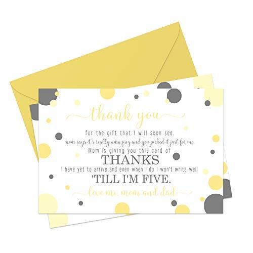 Dankeskarten und Umschläge für Babyparty, Gelb und Grau, 15 Stück