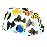 Lindos peces de acuario de dibujos animados paquete de 2 gorra de trabajo ajustable con botones elásticos Bouffant sombreros bufanda de cabeza con banda para el sudor para mujeres y hombres