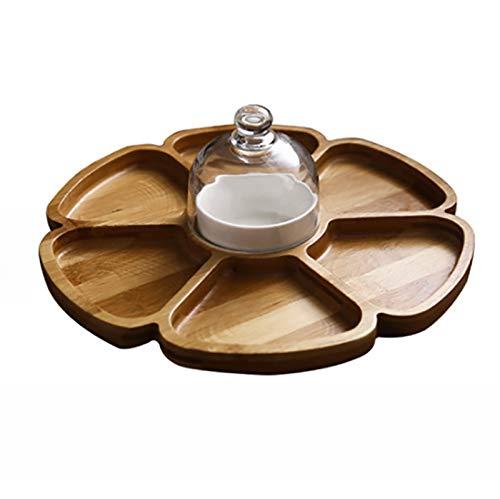 Topelec - Plato de bambú para servir (6 compartimentos, con plato de cerámica)
