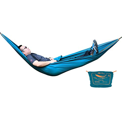 Hamacas Mobiliario de Camping Aire Libre Adecuado for múltiples escenas oscilación Sola Durable cómodo y Transpirable de Carga 110kg (Color : Blue, Size : 250 * 150cm)