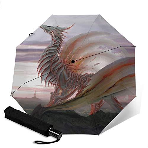 Dragon,Premium Umbrella Windproof - Compact Umbrella Automatic - Travel Umbrella Folding - Portable Umbrella Auto - Mens Travel Umbrella
