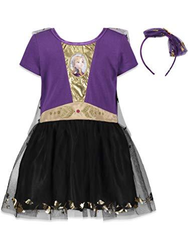 Disney Frozen Elsa Anna Little Girls Costume Dress Gown & Headband Set 6-6X Purple/Black