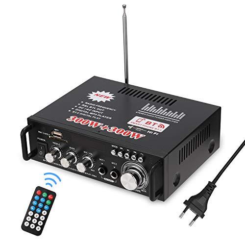 docooler 12 V/220V Mini Amplificador Audio Bluetooth,HiFi Audio Estéreo Amplificador 2CH Pantalla LCD de Alta fidelidad , BT FM Radio Portátil Auto Home 600 W, Mando a Distancia Audio Amplificador