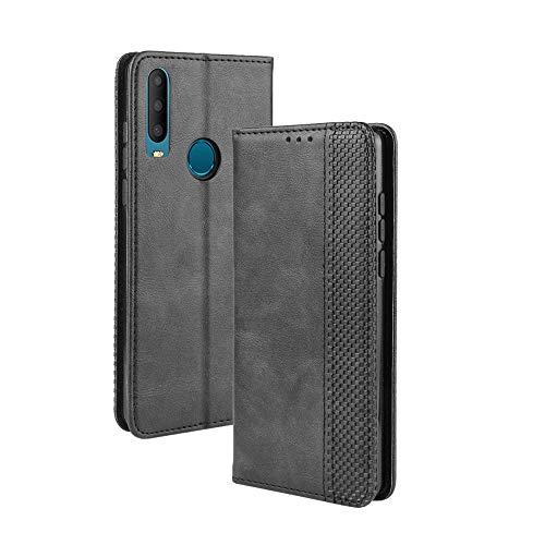 FANFO® Standfunktion Hülle kompatibel mit Alcatel 3X (2019), PU Leder Magnetschnalle Schutzhülle Flip Wallet Klapphülle, schwarz