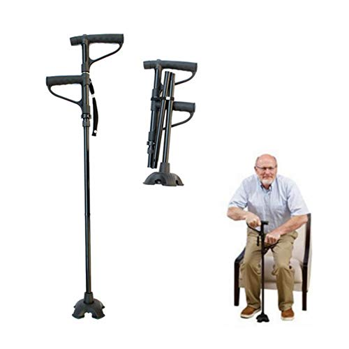 Multi-functional Walking Sticks Canes Adjustable Folding Canes With LED Light and Cushion Aid Handle for Arthritis Seniors Disabled and Elderly Best Mobility Aids Cane from 30.7 to 39.57 Inch