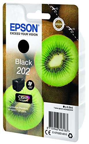 Epson Kiwi Singlepack Black 202 Claria Premium Ink - Cartucho de Tinta para impresoras (Original, Tinta a Base de…