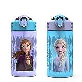 Zak Designs Disney Frozen 2 Kids Water Bottle Set with Reusable Straws